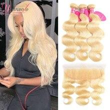 Younsolo cabelo 613 pacotes loira com frontal onda do corpo do cabelo humano fechamento do laço frontal com pacotes brasileiro remy cabelo humano