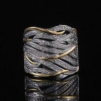 Huitan Zwei Ton Persönlichkeit Frauen Ring Aushöhlen Geometrische Form Dame Party Zubehör Weibliche Metallic Ringe Modeschmuck