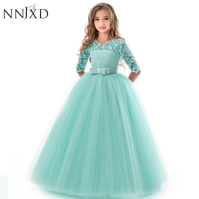 New Princess Lace Dress Kids Flower Embroidery Dress For Girls Vintage Children Dresses For Wedding Party Formal Ball Gown 14T 1
