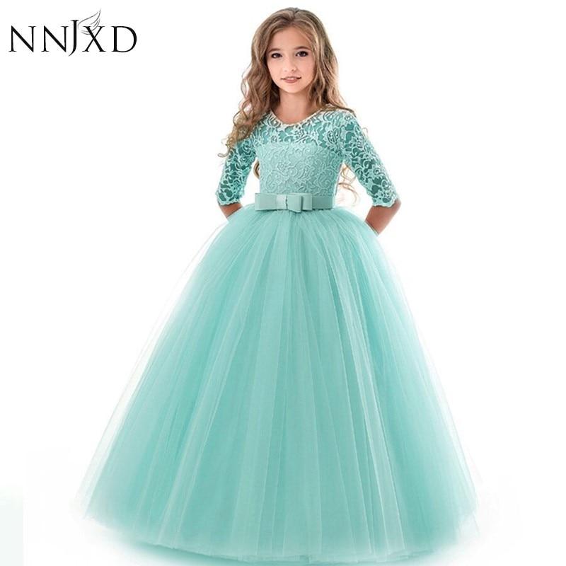 New Princess Lace Dress Kids Flower Embroidery Dress For Girls Vintage Children Dresses