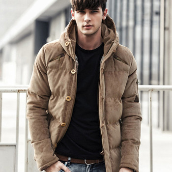 New Winter Coat Men Corduroy England Style Jacket Hooded Solid Color Padded Coats Male Fashion Streetwear Parka Clothes