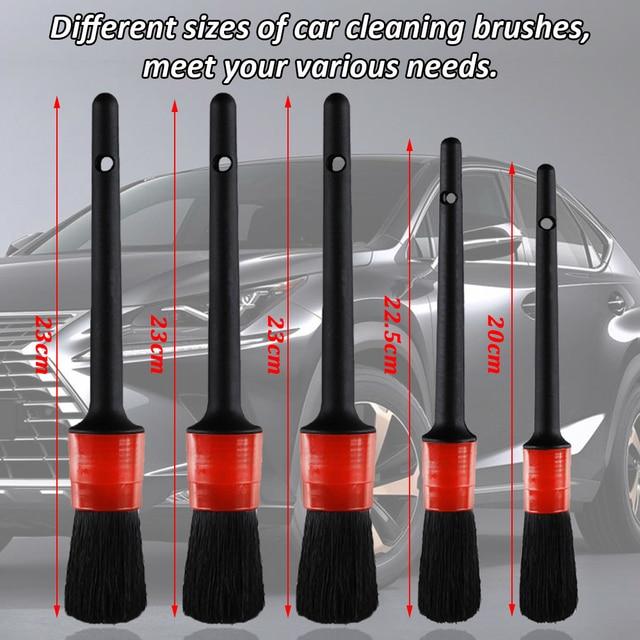Brosse de nettoyage de voiture, ensemble de brosses de nettoyage pour l'intérieur et l'extérieur du cuir, nettoyage des bouches d'aération 2