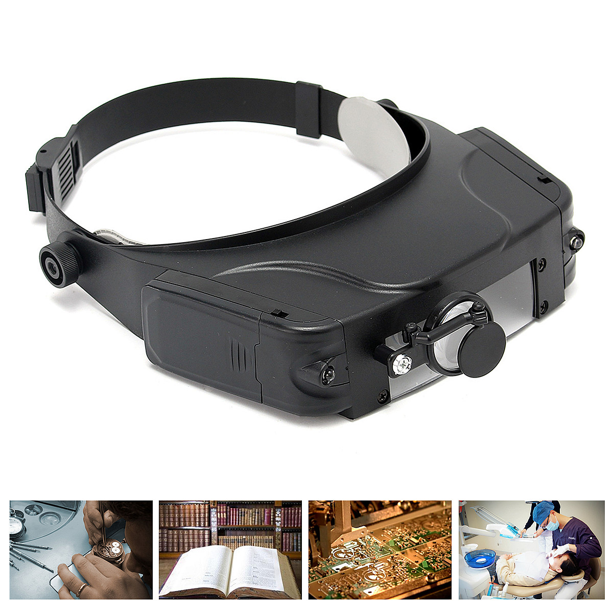 ZEAST Head Band Loupe Magnifying Head-wearing Repairing Magnifier Optical Glasses With LED Light For Repairing Jeweler, Reading