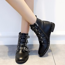 2019 Autumn Rivets Leather Booties Buckle Straps Thick Heel Black Ankle Women Boots Woman Motorcycle