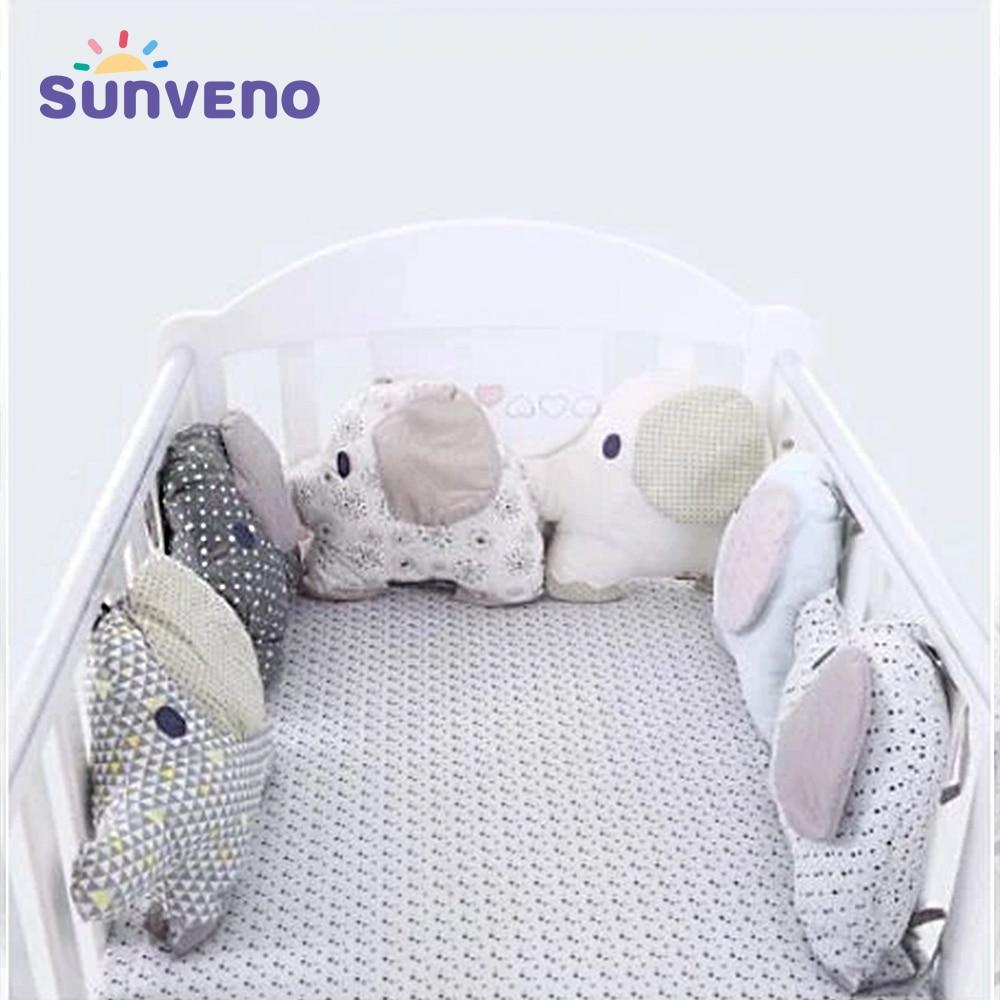 6 teile/satz Elefanten Form Baby Bett Stoßstange Karton Kissen Kissen Stoßstange für Infant Bebe Krippe Protector Nestchen Baby Bettwäsche set