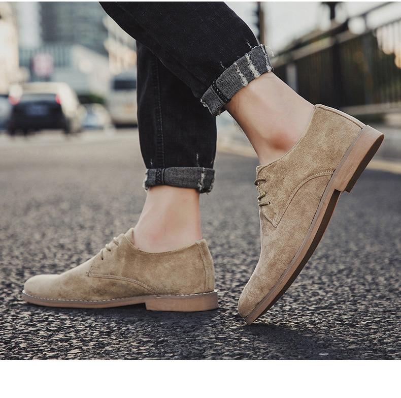 Hdd3f58a208f547a9b66274224b52b684S Merkmak Fashion England Trend Casual Shoes Men Flock Oxford Wedding Leather Dress Men Flats Waterproof Men Shoes Plus Siz