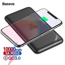 Baseus Qi Беспроводное зарядное устройство, внешний аккумулятор 10000 мАч, 18 Вт, быстрая Беспроводная зарядка, повербанк для iPhone, samsung, Xiaomi