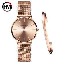 Полный розового золота 1 комплект часы браслет с японским кварцевым