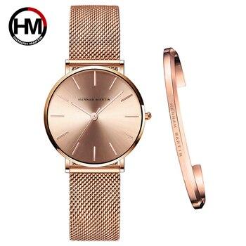Full Rose Gold 1 Set Bracelet Watch Japan Quartz Creative Design Waterproof Stainless Steel Mesh Ladies Watches Relogio Feminino - discount item  92% OFF Women's Watches