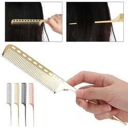 Salon Rat Tail Hair Comb Men Women Styling Comb Professional Barber Aluminum Metal Comb Hair Brush for Barber Hairdresser Supply