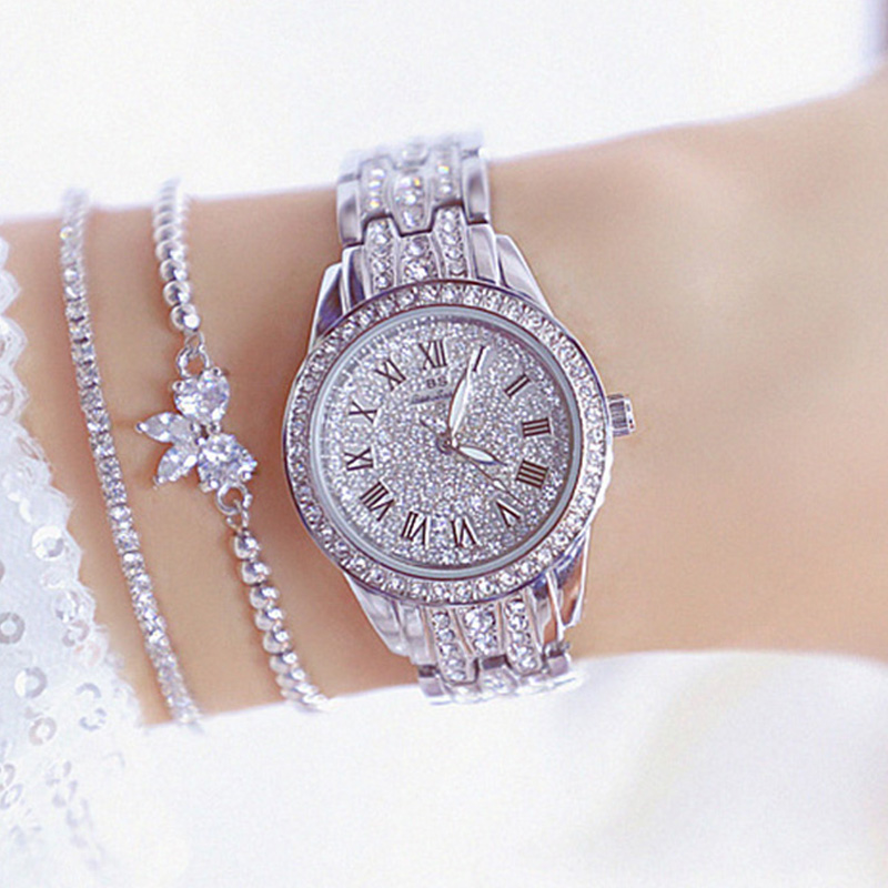 Bling Diamond Watch For Women Roman Numerals Dial Silver Watch Brand Luxury Crystal Ladies Quartz Wrist Watches Dress Clock 2020