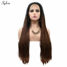 Sylvia черный корни Омбре коричневый/темно-синий/желтый блонд кружева спереди Плетеный парик синтетическая коробка оплетка парики для женщин вечерние длинные волосы