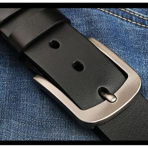 Image 1 - 140 150 160 170cm Large Size 100% Cow Genuine Leather Belt Mens Casual Metal Pin Detachable Buckle Straps Ceintures Jeans Belts