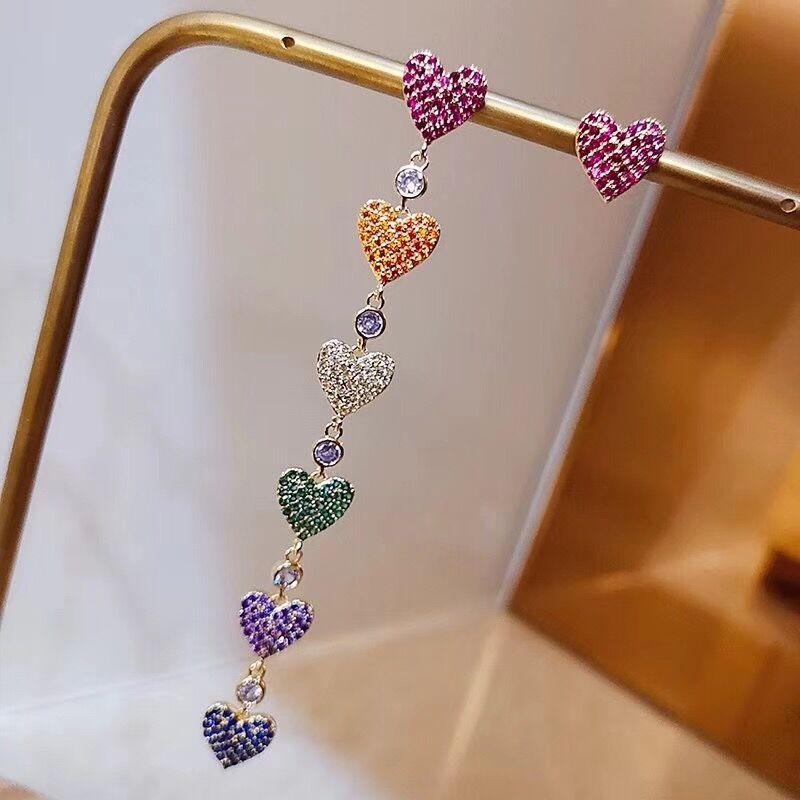 Trendy Crystal Heart Women Dangle Earrings Fashion Colour Love Asymmetric Long Earrings Womens Earrings In Jewelry