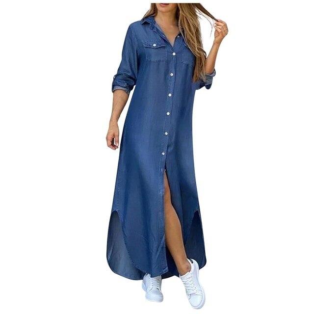 Fashion Korean Plus Size Denim Dress For Women Summer Dress 2021 Lapel Split Sexy Long Maxi Jeans Dress Vestidos De Mujer #SRN 2