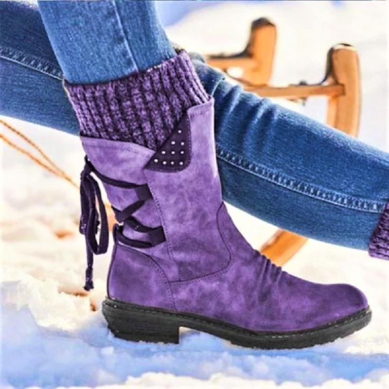 Lowest Price with Best Quality and Free Gift - Women Boots winter autumn girls Flat Heel Boot Fashion Knitting Patchwork shoes 3