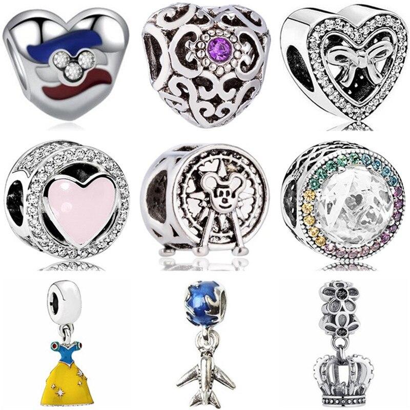 Mickey Beads Dress Charms Pearl Crystal Maple-Leaf Fit Pandora Bracelets Jewelry High-Quality