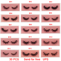 30 PCS UPS Mink Eyelashes 3D Mink 100% Cruel Eyelashes Handmade Natural Reusable Small Eyelashes False Eyelash Makeup Eye