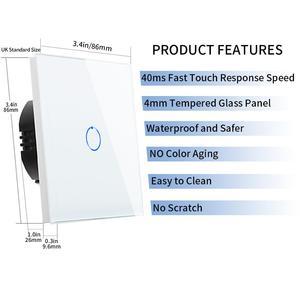 Image 4 - Bingoelec 1/2/3Gang 2Way Stair Wall Switch,White Crystal Toughened Glass Touch 2Way Light Switch EU/UK standard AC110 250V