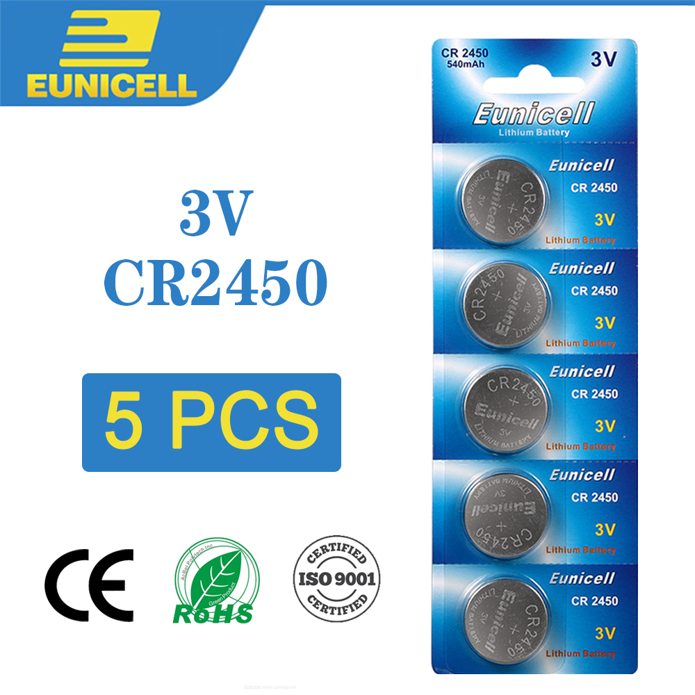 Eunicell 5PCS CR2450 Button Battery CR 2450 KCR2450 5029LC LM2450 3V Cell Coin Lithium Batteries For Watch Electronic Toy Clocks