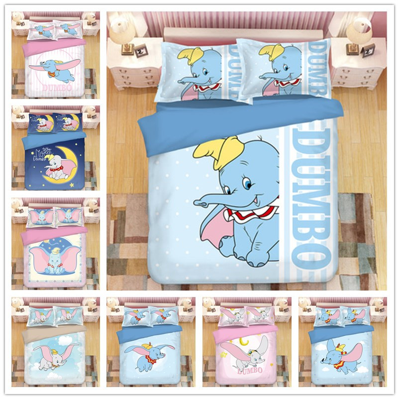 New Cartoon Dumbo Bedding Sets Boy/Girls Baby Single Twin King Queen Kids Duvet Cover Set Pillowcases Queen Quilt Blanket Cover