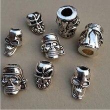 10 шт./партия тибетский серебряный пиратский череп волосы оплетка dread дредлок бусины кольца трубка около 5 мм отверстие для волос аксессуары