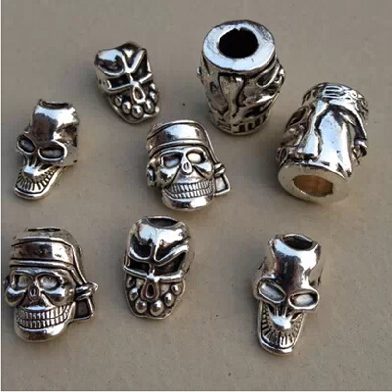 10Pcs/Lot Tibetan Silver Pirate Skull Head Hair Braid Dread Dreadlock Beads Rings Tube Approx 5mm Hole For Hair Accessories