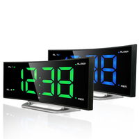 Large Screen LED Digital Alarm Clock Desktop Electronic Radio Clock with Snooze for Bedside Home Decoration Office Desk QLA020