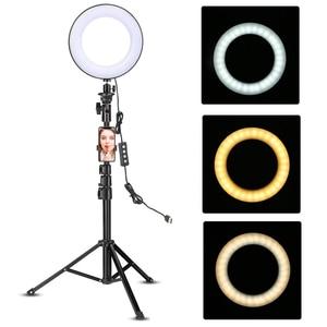 Image 1 - Ledビデオリングライト 51 インチ三脚スタンド電話ホルダーselfieリングライトyoutubeのメイクビデオライブ照明写真
