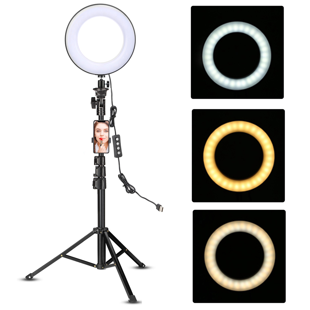 Led Video Ring Light with 51inch Tripod Stand Phone Holder Selfie Ringlight for Youtube Makeup Video Live Lighting Photography