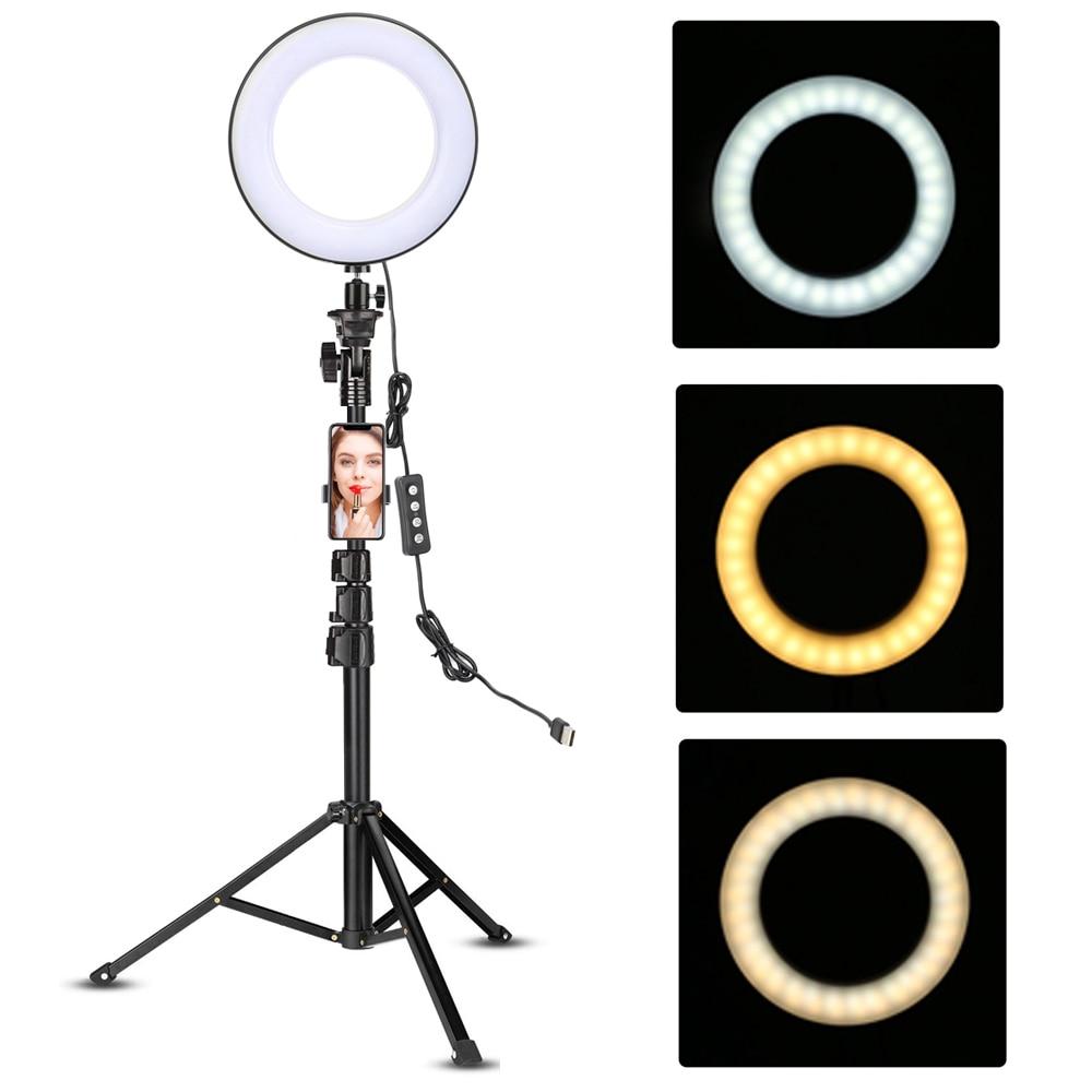 LED video ringelys med 51 tommer stativ telefonholder selfie ringlys - Kamera og foto