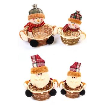 2019 New Santa Home Desktop Storage Basket Christmas Bamboo Basket Christmas Party Candy Basket Christmas Party Candy Basket image