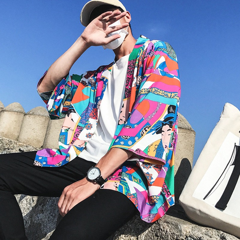 2019 Men's Japanese Kimono Classical New Style Fashion Design Casual Cardigan Casual Half Sleeves Open Front Cloak Jacket Coat