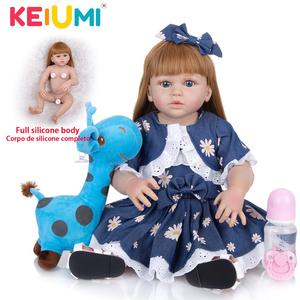 KEIUMI 57CM Reborn Babies Doll Full Silicone Realista Beautiful Princess Toddler Bebe Doll Reborn Toy For Children Birthday Gift