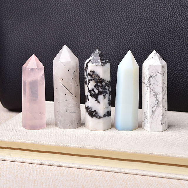 30 Color Natural Stones Crystal Point Wand Amethyst Rose Quartz Healing Stone Energy Ore Mineral Crafts Home Decoration 1PC 5