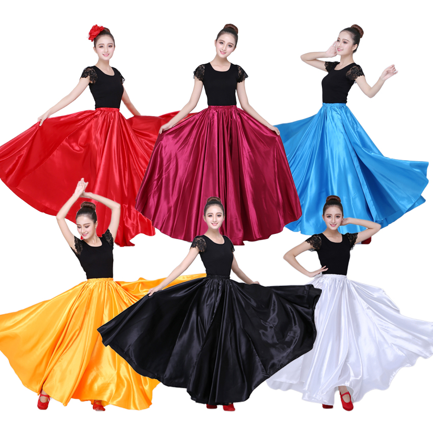 10 Colors Satin Smooth Solid Spanish Flamenco Skirt Plus Size Performance Belly Dance Costumes Femal Woman Gypsy Style Skirt