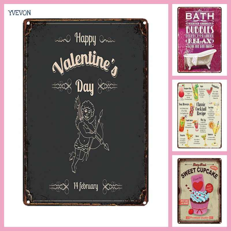 Happy Valentine Day Romatic Love Sign Metal Picture Plaque Tin Vintage Decor Sign Motto Plate Custom Board Photo Wall Display