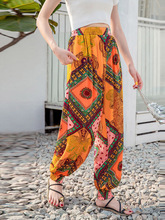Bohemian Printed Ethnic Fashion Lantern Harem Pants Women Trousers Loose Plus Size Boho Travel Casual High Waist Beach Bottoms