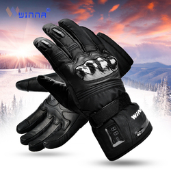 Winter Electric Heated Gloves with Carbon Fiber Protective Case Leather Waterproof Thermal Gloves for Motorcycle Riding Skiing