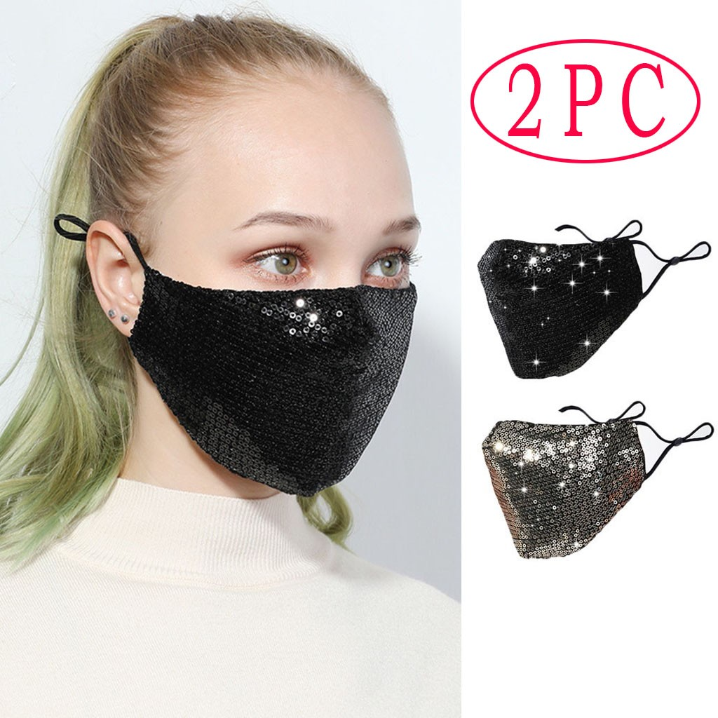 2PCS Fashion Sequin Mouth Face Mask Anti-haze Shining Party Windproof Mouth Mask Muffle Bacteria Proof Mouth Face Masks Washable