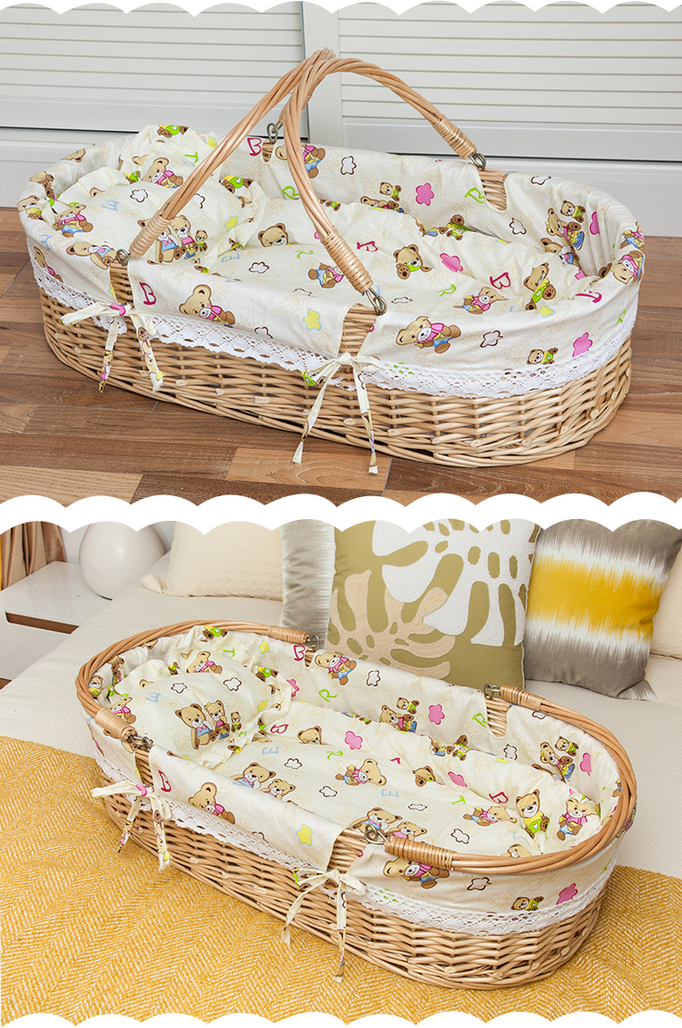 Newborn basket portable baby basket wicker woven sleeping basket car baby basket baby cradle bed