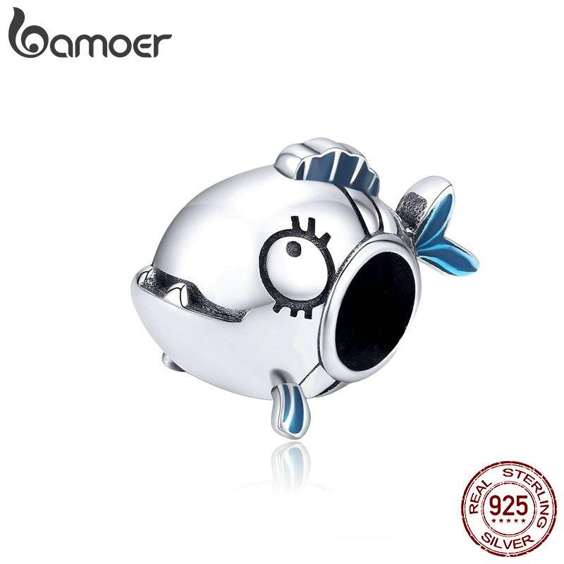 Bamoer Marine Adventure Series 925 Sterling Silver Piranha Fish Metal Charm For Original Bracelet Women Jewelry Making SCC1476