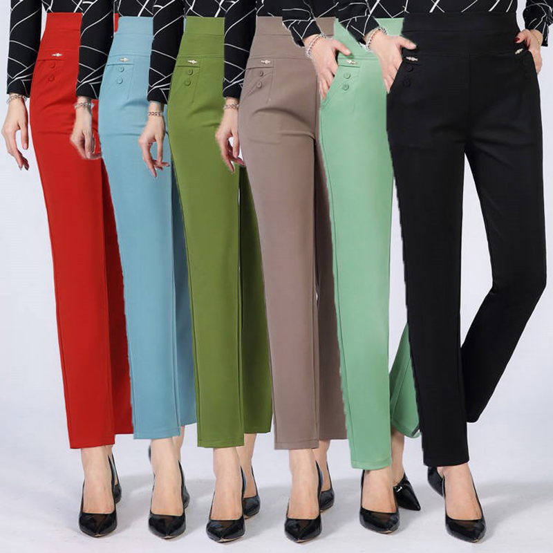 Women Casual Pants 2019 New Summer Autumn High Waist Elasticity Straight Pants Slim Trousers Female Khaki Black Plus Size XL-5XL