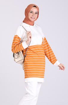 Tunika musztardowa Minahill 5327-03 tanie i dobre opinie Aplikacje Bluzki i koszule Octan Dla dorosłych