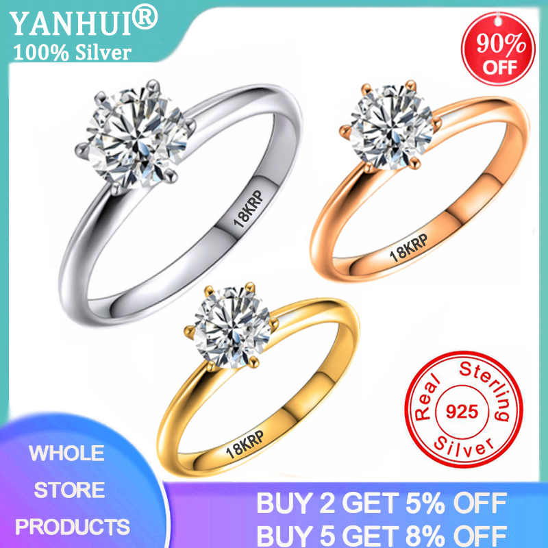 Big Promotion! Classic Minimalist 8mm 2ct Zirconia Diamond Wedding Rings For Women Gold/Rose Gold Engagement Rings For Lady Girl