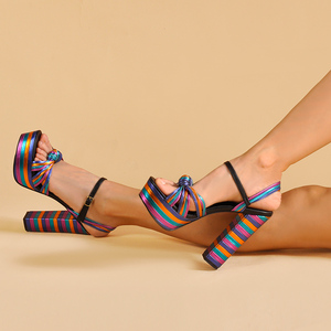 Image 3 - Sinsaut 夏靴の女性のかかとサンダルハイヒールウェッジサンダルの女性プラットフォームサンダルスクエアヒール女性のための