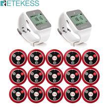 RETEKESS nargile restoran çağrı cihazı kablosuz garson çağrı sistemi 2 TD108 izle alıcı + 15 T117 çağrı düğmesi müşteri hizmetleri için