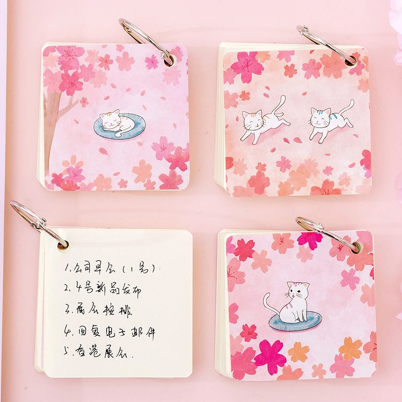 1PC Creative Kawaii Cartoon Cat Portable Loose-Leaf Memo Pad Notes Student Notepad Office School Stationery Supplies 02199