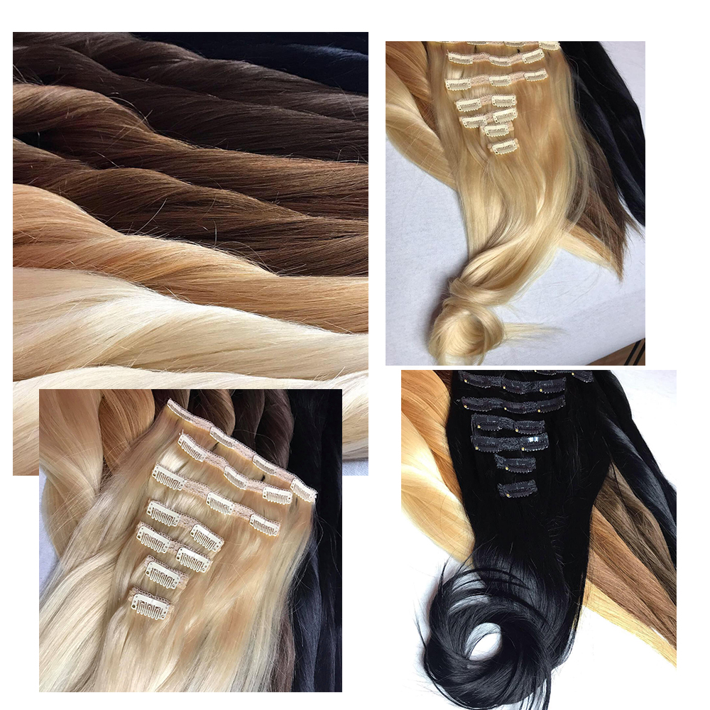 Human-Hair-Extensions Remy-Hair Doreen Machine-Made Clip-In 60-Blonde Natural Straight