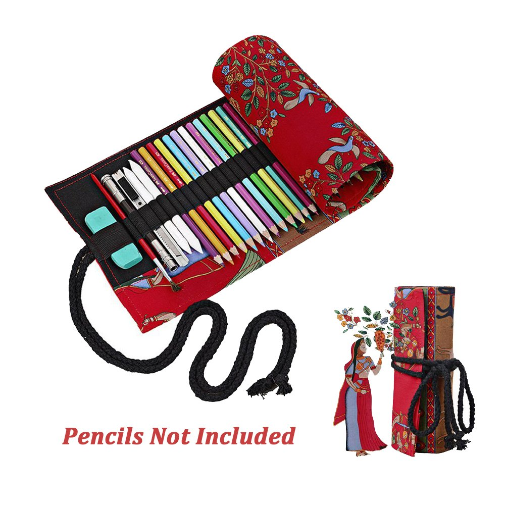 Elephant Red Black Tree National Style Pattern Canvas Colored Pencil Roll Wrap 12/24/36/48/72 Slots Storage Pencil Easy To Use